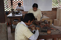 Siem Reap, Cambodia - 2007 File Photo -<br /> <br /> wood carver, <br /> <br /> photo : James Wong-  Images Distribution