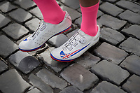 British Champion Adam Blythe's (GBR/Aqua Blue Sport) footwear<br /> <br /> Binche-Chimay-Binche 2017 (BEL) 197km<br /> 'M&eacute;morial Frank Vandenbroucke'