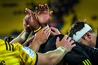 The Hurricanes huddle after the Super Rugby match between the Hurricanes and Highlanders at Westpac Stadium in Wellington, New Zealand on Friday, 1 March 2019. Photo: Dave Lintott / lintottphoto.co.nz