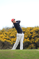 Shaun Carter (Stackstown) on the 7th tee during round 2 of The West of Ireland Amateur Open in Co. Sligo Golf Club on Saturday 19th April 2014.<br /> Picture:  Thos Caffrey / www.golffile.ie