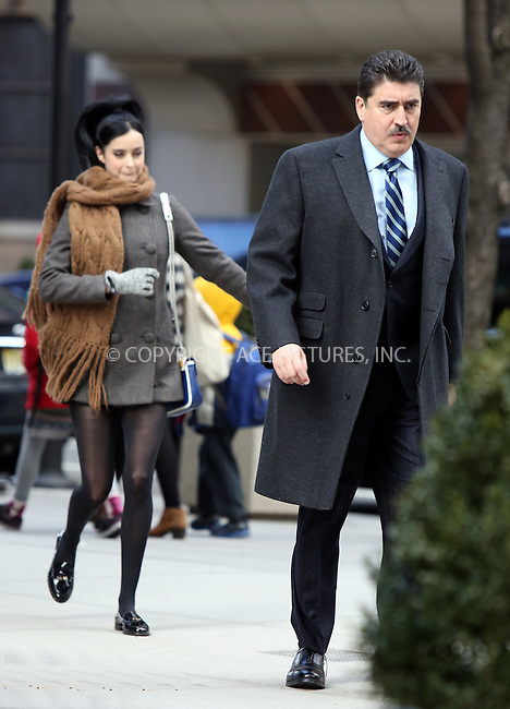 WWW.ACEPIXS.COM....March 26 2013, New York City....Actors Alfred Molina and Krysten Ritter on the set of the new movie 'Assistance' on March 26 2013 in New York City.......By Line: Philip Vaughan/ACE Pictures....ACE Pictures, Inc...tel: 646 769 0430..Email: info@acepixs.com..www.acepixs.com