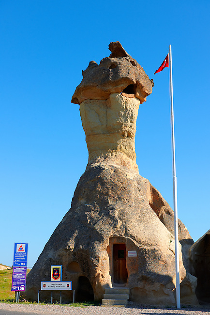 "Pictures & images of the fairy a chimney rock Police Station at ""Pasaba Valley"" near Goreme, Cappadocia, Nevsehir, Turkey"