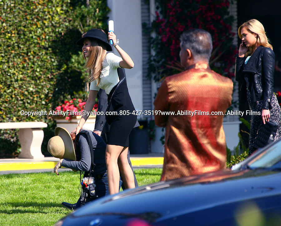 February 1st 2012..Annalynne Mccord filming tv show 90210 in Hollywood California petting and walking a dog with co stars Shanae Grimes Jessica Stroup & Jessica Lowndes. ..AbilityFilms@yahoo.com.805-427-3519www.AbilityFilms.com
