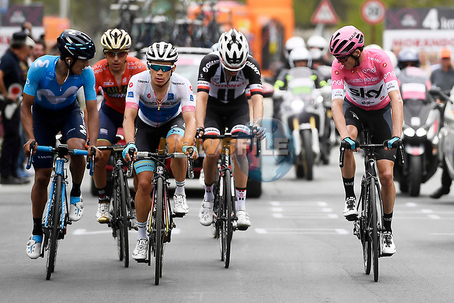 Race leader Chris Froome (GBR) Team Sky Maglia Rosa, Miguel Angel Lopez (Col) Astana Pro Team Maglia Bianca,   Richard Carapaz (ECU) Movistar Team, Domenico Pozzovivo (ITA) Bahrain-Merida and Tom Dumoulin (NED) Team Sunweb climbing during Stage 20 of the 2018 Giro d'Italia, running 214km from Susa to Cervinia is the final mountain stage, with the last three climbs of Giro 101 deciding the GC of the Corsa Rosa, Italy. 26th May 2018.<br /> Picture: LaPresse/Fabio Ferrari | Cyclefile<br /> <br /> <br /> All photos usage must carry mandatory copyright credit (© Cyclefile | LaPresse/Fabio Ferrari)