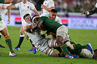 1st November 2019, Yokohama, Japan;  Tom Curry of England and Siya Kolisi of South Africa collide during the 2019 Rugby World Cup final match between England and South Africa at International Stadium Yokohama in Kanagawa, Japan on November 2, 2019.