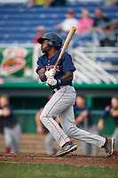 Lowell Spinners designated hitter Xavier LeGrant (15) hits a single during a game against the Batavia Muckdogs on July 16, 2018 at Dwyer Stadium in Batavia, New York.  Lowell defeated Batavia 4-3.  (Mike Janes/Four Seam Images)