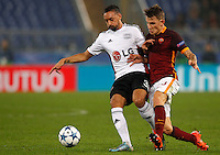 Calcio, Champions League, Gruppo E: Roma vs Bayer Leverkusen. Roma, stadio Olimpico, 4 novembre 2015.<br /> Bayer Leverkusen's Karim Bellarabi, left, is challenged by Roma's Lucas Digne during a Champions League, Group E football match between Roma and Bayer Leverkusen, at Rome's Olympic stadium, 4 November 2015.<br /> UPDATE IMAGES PRESS/Riccardo De Luca
