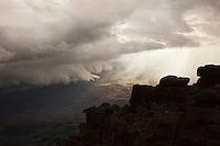 A view of the dramatic landscape and weather from the top of Mount Roraima in Venezuela