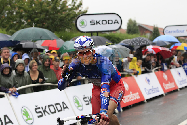 Arnaud Demare (FRA) FDJ.FR crosses the finish line in Arenberg at the end of Stage 5 of the 2014 Tour de France running 155.5km from Ypres to Arenberg. 9th July 2014.<br /> Picture: Eoin Clarke www.newsfile.ie