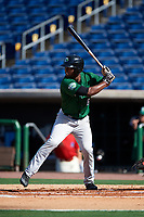 Daytona Tortugas left fielder Daniel Sweet (6) at bat during the first game of a doubleheader against the Clearwater Threshers on July 25, 2017 at Spectrum Field in Clearwater, Florida.  Daytona defeated Clearwater 4-1.  (Mike Janes/Four Seam Images)