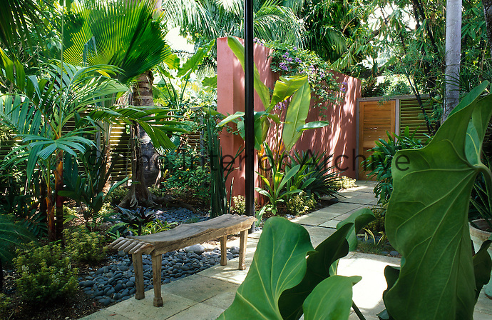 Rendered wall and louvre fencing with tropical foliage planting. Carved indian bench on path.