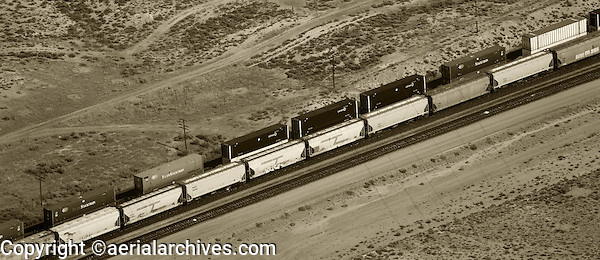 aerial photograph rail cars southern Wyoming