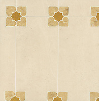 Marion, a stone water jet mosaic, shown in Persian Gold, Ivory Cream, and Sylvia Gold, is part of the Ann Sacks Beau Monde collection sold exclusively at www.annsacks.com