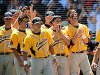 May 31, 2010; Grand Junction, CO, USA; Southern Nevada Coyotes catcher Bryce Harper (right) celebrates a score with teammates against the Faulkner State Sun Chiefs during the Junior College World Series as Suplizio Field. Southern Nevada won the game 18-1. Mandatory Credit: Mark J. Rebilas-