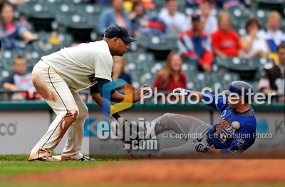 13 September 2008: Kansas City Royals' outfielder David DeJesus slides safely into third with a triple against the Cleveland Indians at Progressive Field in Cleveland, Ohio. The Royals defeated the Indians 8-3 in the first game of their rain delayed double-header...Mandatory Photo Credit: Ed Wolfstein Photo