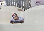 9 January 2016: Hansin Lee, competing for South Korea, crosses the finish line on his second run of the day during the BMW IBSF World Cup Skeleton Championships at the Olympic Sports Track in Lake Placid, New York, USA. Lee ended the day with a combined 2-run time of 1:51.62 and a 19th place overall finish. Mandatory Credit: Ed Wolfstein Photo *** RAW (NEF) Image File Available ***