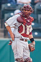 Catcher Myles Parma (23) during the NCAA matchup between the University of Arkansas-Little Rock Trojans and the University of Oklahoma Sooners at L. Dale Mitchell Park in Norman, Oklahoma; March 11th, 2011.  Oklahoma won 11-3.  Photo by William Purnell/Four Seam Images
