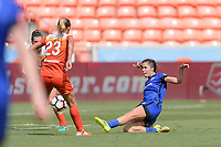 Houston, TX - Saturday May 27, 2017: Katie Johnson takes a shot at the goal and scores during a regular season National Women's Soccer League (NWSL) match between the Houston Dash and the Seattle Reign FC at BBVA Compass Stadium.