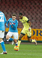 Geoffrey Kondogbia  controls the ball during the Quartef-final of Tim Cup soccer match,between SSC Napoli and vFC Inter    at  the San  Paolo   stadium in Naples  Italy , January 19, 2016