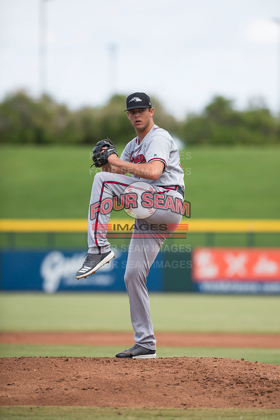 Peoria Javelinas starting pitcher Jeremy Walker (58), of the Atlanta Braves organization, delivers a pitch during an Arizona Fall League game against the Mesa Solar Sox at Sloan Park on October 11, 2018 in Mesa, Arizona. Mesa defeated Peoria 10-9. (Zachary Lucy/Four Seam Images)