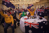 Moscow, Russia, 24/09/2010..Australian fans cheer their competitor Luke Kelly in the semi-finals of the Karaoke World Championships 2010, where amateur singers from around the world competed for prizes that included one million Russian dumplings.