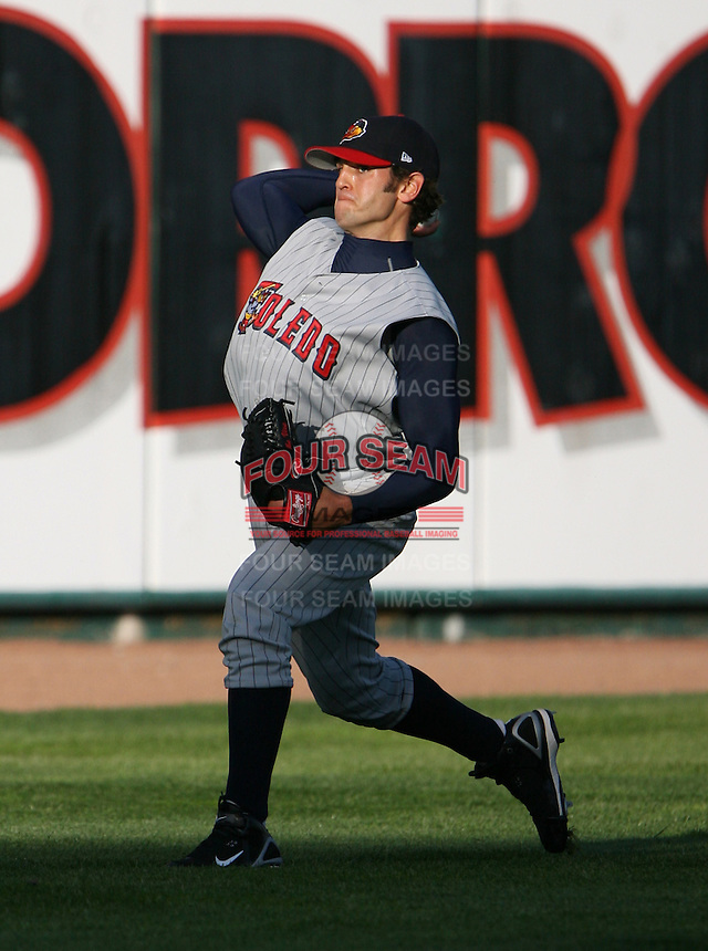 2007:  Virgil Vasquez of the Toledo Mudhens warms up in the outfield prior to a game vs. the Rochester Red Wings in International League baseball action.  Photo By Mike Janes/Four Seam Images