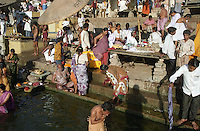 Along the banks of the Ganges River in Varanasi, India while retracing Mark Twain's route around the world in 1996.