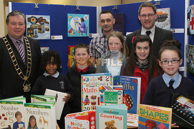 Winners Ronan Gumba Williams, Conor Kelly, Jennifer O'Donoghue, Chloe Doyle and Sorcha McGeown with Mayor Paul Bell, Manager of CTI Drogheda Paul Martin and Editor of the Drogheda Leader, Gordon Hatch at the Drogheda Counts Presentation in Drogheda Library...(Photo credit should read Jenny Matthews/NEWSFILE)...