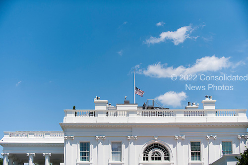The American flags that fly over the White House in Washington, DC are lowered to half staff following United States President Barack Obama's remarks to reporters in the Brady Press Briefing Room in Washington, District of Columbia, U.S., on Sunday, June 12, 2016, about the deadly shooting the night before in a gay nightclub in Orlando FL. Approximately 50 people were killed and at least 53 more were injured in what appears to be the deadliest mass shooting in U.S. history. <br /> Credit: Pete Marovich / Pool via CNP