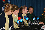 2 December 2006: Notre Dame's Brittany Bock (2nd from rt) answers a question as Notre Dame head coach Randy Waldrum (r) and teammates Amanda Cinalli (l) and Jen Buczkowski watch. The University of Notre Dame Fighting Irish held a press conference at SAS Stadium in Cary, North Carolina one day before playing in the NCAA Division I Women's College Cup championship game.
