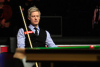 Neil Robertson can only watch on as Judd Trump takes an early lead during the Dafabet Masters Quarter Final 2 match between Judd Trump and Neil Robertson at Alexandra Palace, London, England on 15 January 2016. Photo by Liam Smith / PRiME Media Images.