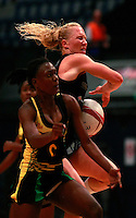 17.1.2014 New Zealand's Laura Langman competes for ball with Jamaica's Khadijah Williams during their netball test match in London, England. Mandatory Photo Credit (Pic: Tim Hales). ©Michael Bradley Photography.