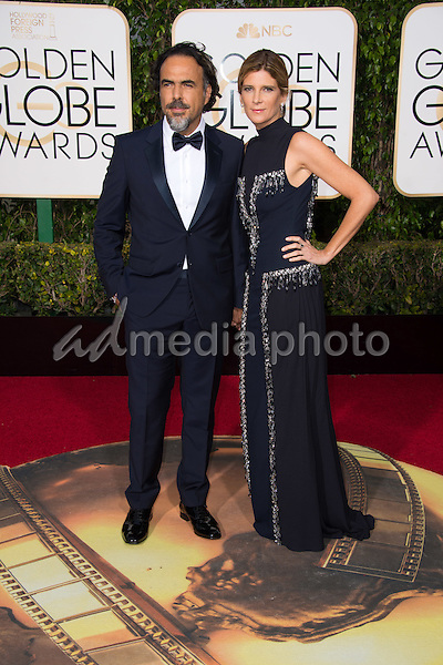 """Alejandro Inarritu, Golden Globe Nominee in the category of BEST MOTION PICTURE - MUSICAL OR COMEDY for the movie """"The Revenant"""", and guest, arrives at the 73rd Annual Golden Globe Awards at the Beverly Hilton in Beverly Hills, CA on Sunday, January 10, 2016. Photo Credit: HFPA/AdMedia"""