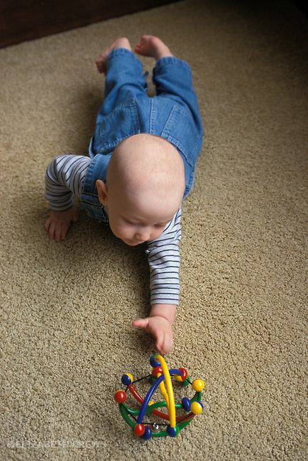 Berkeley CA  Baby boy six months old reaching for toy showing ulnar grasp  MR