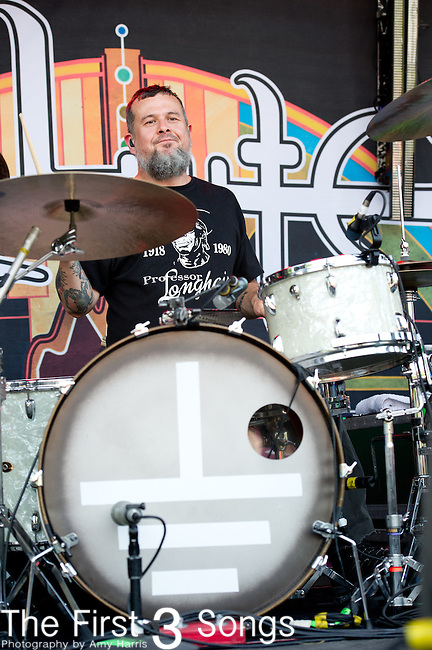 Jean-Paul Gaster of Clutch performs during the 2013 Rock On The Range festival at Columbus Crew Stadium in Columbus, Ohio.