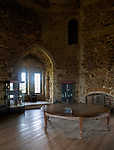 Great Hall inside the 12th century Orford castle, Suffolk, England, UK