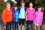 Madeline Brosnan (Kilmoyley), Caolinn Kenny O'Sullivan, Hilda Jones (Tralee), Jill Kenny (Kilmoyley), Caragh Kenny O'Sullian from Kilmoyley taking part in the Kerry Health and Wellbeing Parkrun in the Tralee Town park on Saturday.