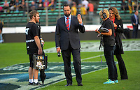 Skysport commentator Scotty Stevenson waves to Hurricanesa assistant coach Richard Watt during the Super Rugby match between the Hurricanes and Force at CET Stadium, Palmerston North, New Zealand on Friday, 18 March 2016. Photo: Dave Lintott / lintottphoto.co.nz