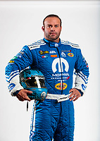 Feb 6, 2020; Pomona, CA, USA; NHRA funny car driver Matt Hagan poses for a portrait during NHRA Media Day at the Pomona Fairplex. Mandatory Credit: Mark J. Rebilas-USA TODAY Sports
