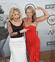 Jane Fonda (left) with author &amp; firness instructor Denise Austin at the 2014 American Film Institute's Life Achievement Awards honoring Jane Fonda, at the Dolby Theatre, Hollywood.<br /> June 5, 2014  Los Angeles, CA<br /> Picture: Paul Smith / Featureflash