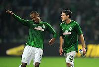 FUSSBALL   1. BUNDESLIGA    SAISON 2012/2013    8. Spieltag   SV Werder Bremen - Borussia Moenchengladbach  07.10.2012 Theodor Gerbe Selassie (li) und Zlatko Junuzovic (re, beide SV Werder Bremen) freuen sich nach dem Abpfiff