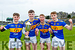 Luke Chester, Sean Quilter,Niall Fitzmaurice and Armin Heinrich celebrate after winning the Corn Uí Mhuire final in Fitzgerald Stadium on Saturday