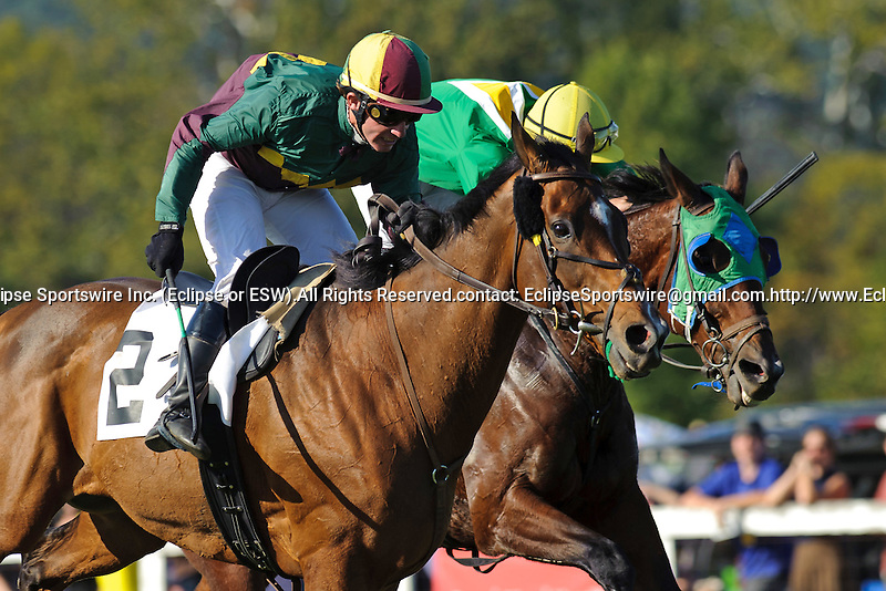 Jody Petty (Outside) aboard Rainbows For Luck  Wins The Samuel H. Rogers Memorial   at  Morven Park in Leesburg, VA  on 10/08/11. Trained by Edward Graham(Ryan Lasek / Eclipse Sportwire)