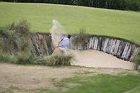 Jack Walsh (Castle) in a bunker on the 7th during Round 2 of Match Play in the AIG Irish Close Championship at the European Club, Brits Bay, Wicklow, Ireland on Monday 6th August 2018.<br /> Picture: Thos Caffrey / Golffile