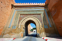 Moorish Arabesque Gate in the city walls of Meknes with zellij mosaics, Morocco