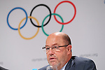 Antonio Espinos, <br /> AUGUST 3, 2016 : <br /> Press conference about Additional Event Programme for Tokyo 2020 after the 129th International Olympic Committee session <br /> during the Rio 2016 Olympic Games <br /> in Rio de Janeiro, Brazil. Softball/Baseball, Karate, Skateboarding, Surfing and Sports Climbing were added to the list of sports for Tokyo 2020. <br /> (Photo by Yohei Osada/AFLO SPORT)