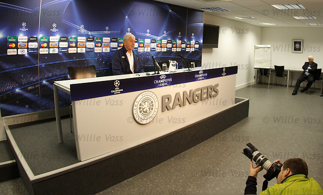 Walter Smith faces the media at Ibrox Stadium for the UEFA Champions League press conference