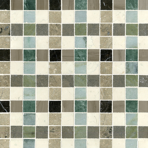 Bonnie, a stone mosaic field shown in Saint Laurent, Driftwood, Kay's Green, Wujan Jade, Bianco Antico polished, Montevideo, Verde Luna, Jura Beige and Jura Grey honed.