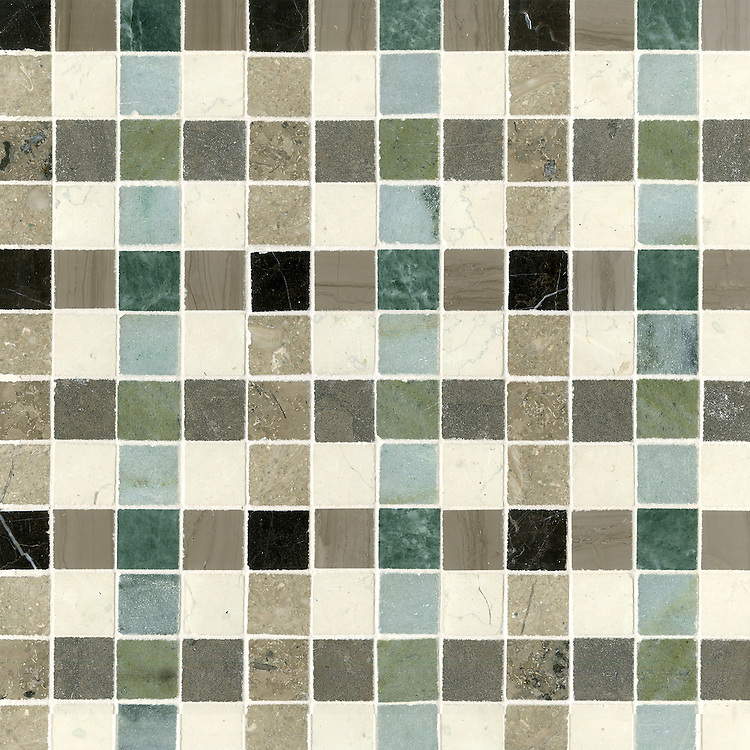 Bonnie, a stone mosaic field shown in Saint Laurent, Driftwood, Kay's Green, Wujan Jade, Bianco Antico polished, Montevideo, Verde Luna, Jura Beige and Jura Grey honed.