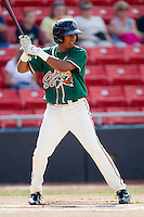 Jose Duarte #15 of the Greensboro Grasshoppers at bat against the Hickory Crawdads at  L.P. Frans Stadium July 10, 2010, in Hickory, North Carolina.  Photo by Brian Westerholt / Four Seam Images